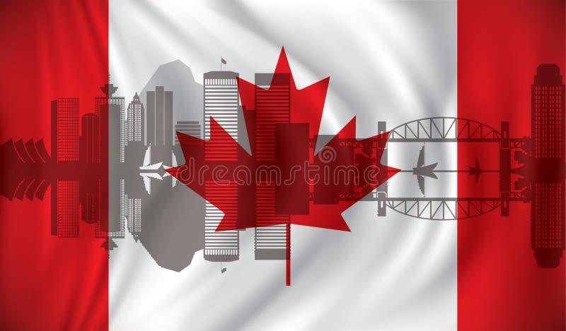 Bandiera del Canada con l'orizzonte di Vancouver illustrazione di stock