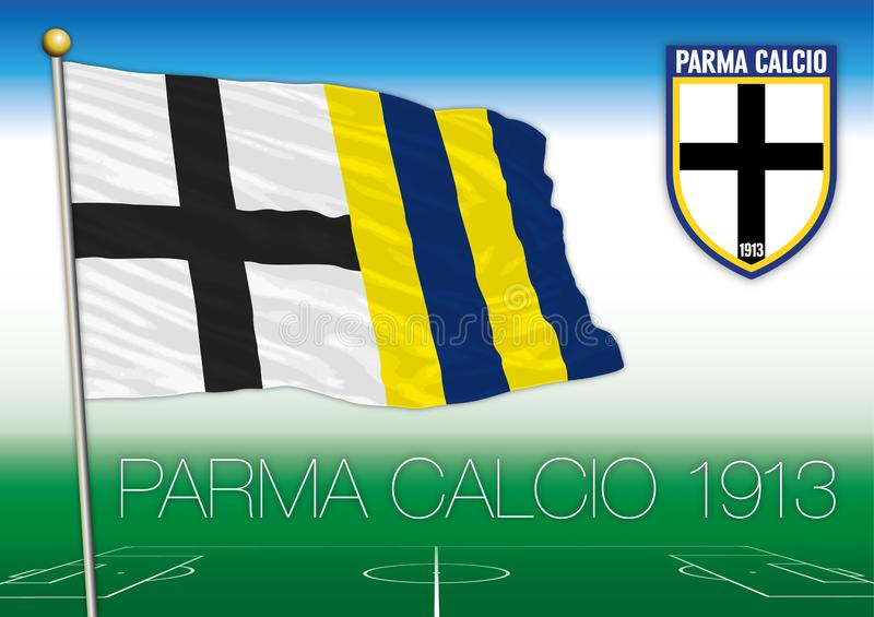 Bandiera del club di Parma 1913 e stemma footbal, illustrazione di vettore, editoriale illustrazione di stock
