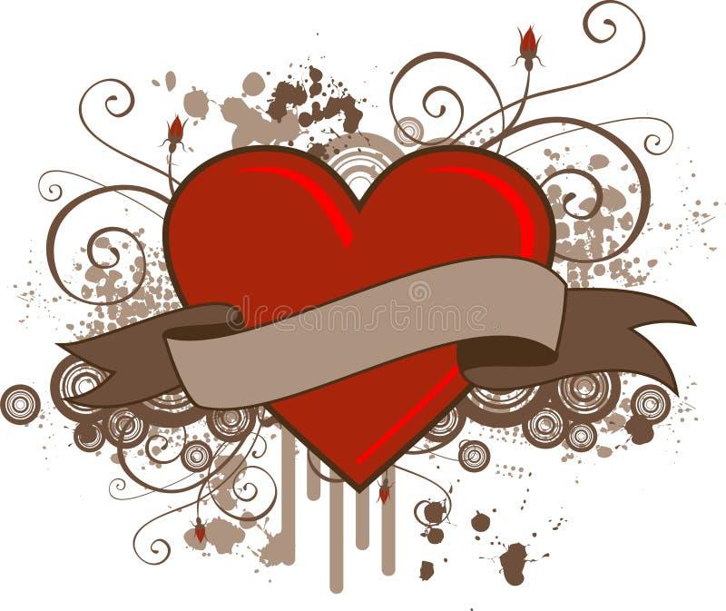 Bandiera del cuore di Grunge illustrazione di stock