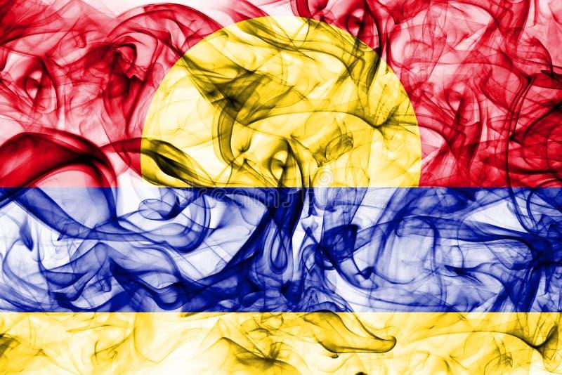 Bandiera del fumo dell'atollo di Palmira, bandiera dipendente del territorio degli Stati Uniti fotografie stock