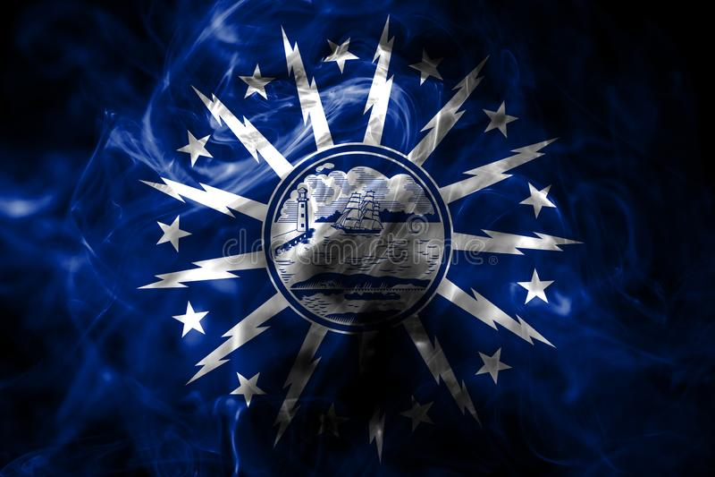 Bandiera del fumo della città della Buffalo, Stato di New York, Stati Uniti di Americ immagine stock