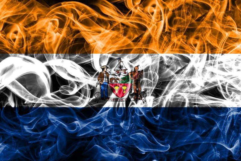 Bandiera del fumo della città di Albany, nuovo stato di Yor, Stati Uniti d'America immagine stock libera da diritti