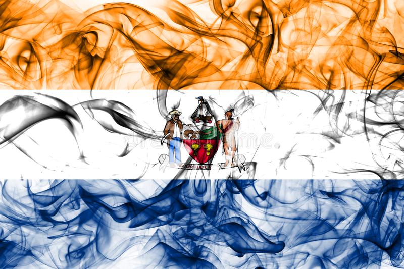 Bandiera del fumo della città di Albany, nuovo stato di Yor, Stati Uniti d'America immagini stock