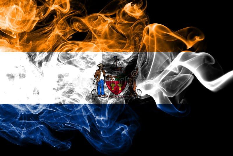 Bandiera del fumo della città di Albany, nuovo stato di Yor, Stati Uniti d'America fotografia stock