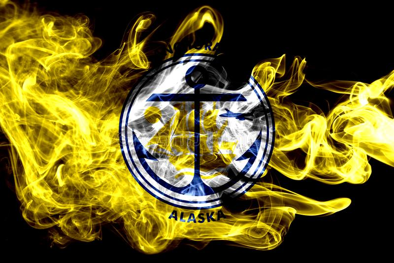 Bandiera del fumo della città di Anchorage, stato dell'Alaska, Stati Uniti di Americ immagine stock libera da diritti