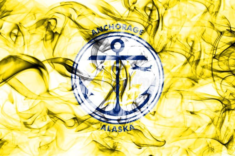 Bandiera del fumo della città di Anchorage, stato dell'Alaska, Stati Uniti d'America fotografie stock