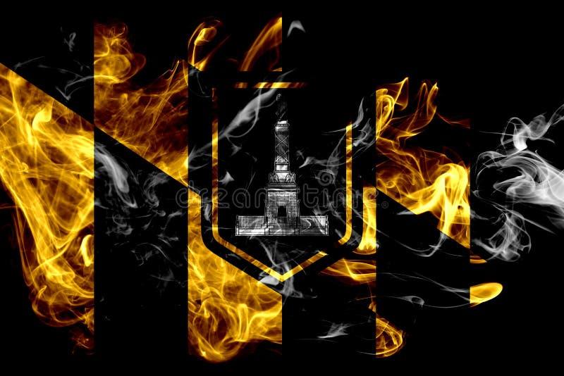 Bandiera del fumo della città di Baltimora, stato di Maryland, Stati Uniti di Amer fotografie stock