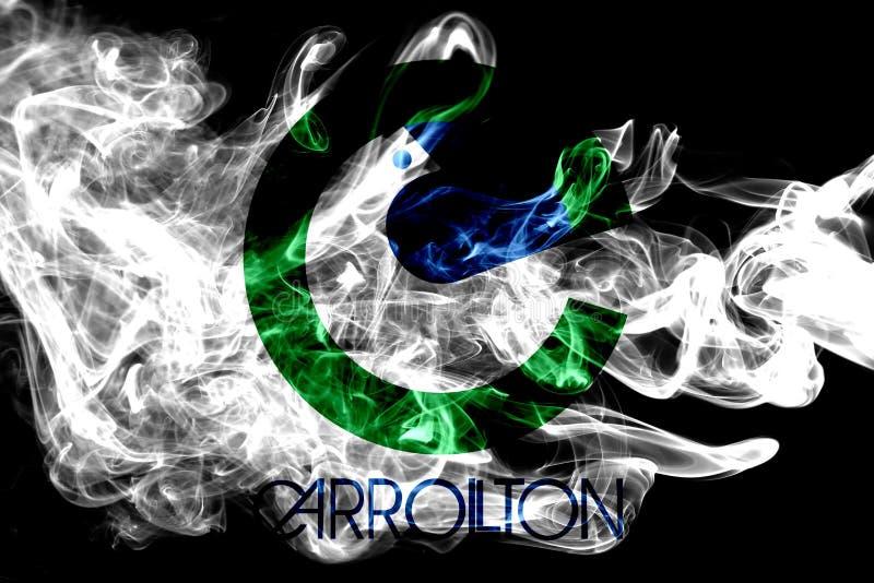 Bandiera del fumo della città di Carrollton, Texas State, Stati Uniti di Ameri fotografia stock libera da diritti