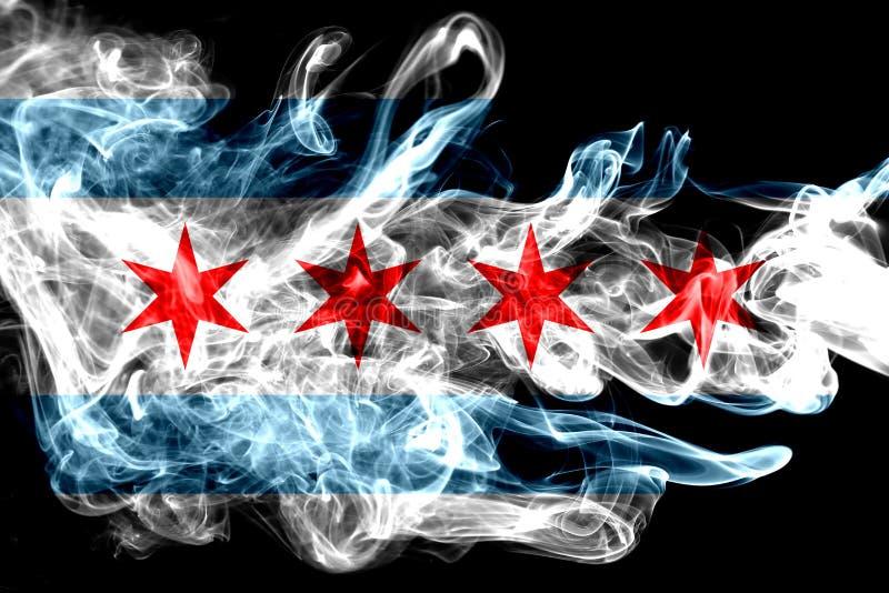 Bandiera del fumo della città di Chicago, stato di Illinois, Stati Uniti di Americ immagine stock