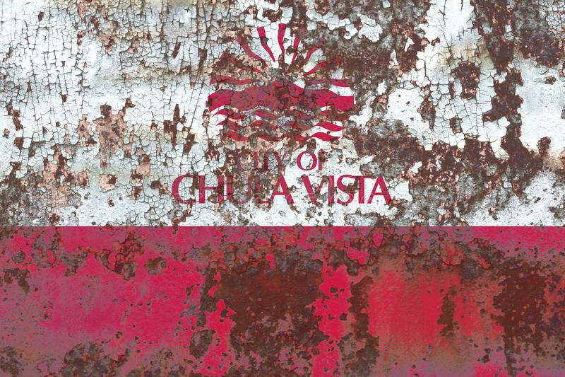 Bandiera del fumo della città di Chula Vista, stato di California, Stati Uniti di immagini stock