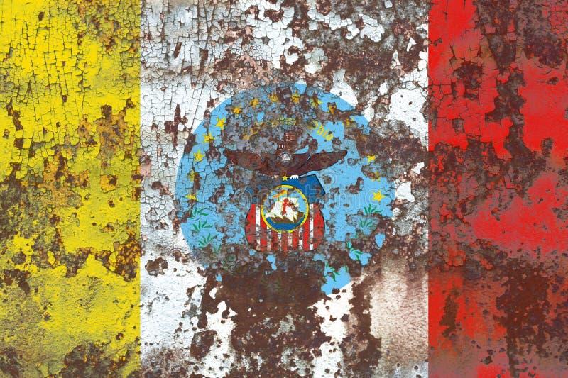 Bandiera del fumo della città di Columbus, stato dell'Ohio, Stati Uniti d'America immagine stock