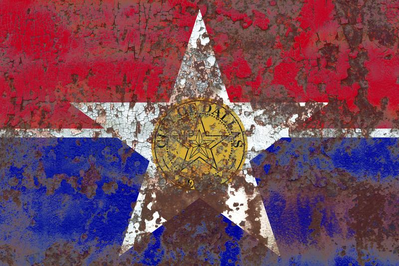 Bandiera del fumo della città di Dallas, stato di Illinois, Stati Uniti d'America fotografia stock libera da diritti