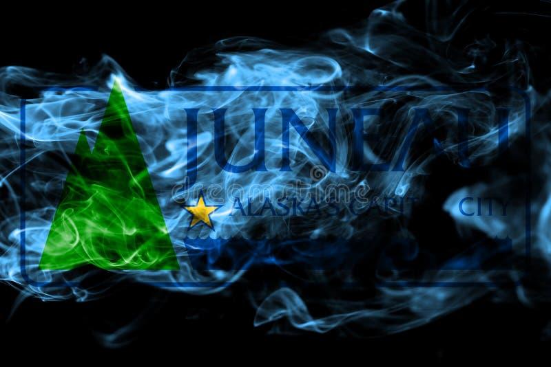 Bandiera del fumo della città di Juneau, stato dell'Alaska, Stati Uniti d'America fotografie stock libere da diritti
