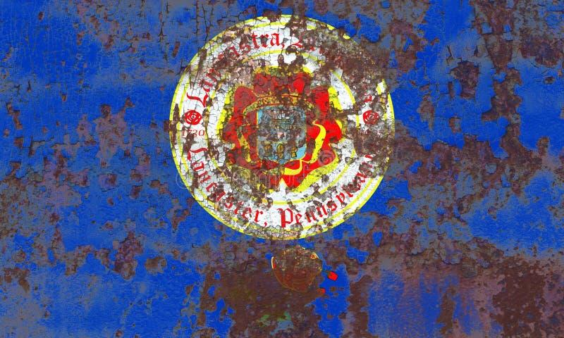 Bandiera del fumo della città di Lancaster, stato della Pensilvania, Stati Uniti di immagine stock