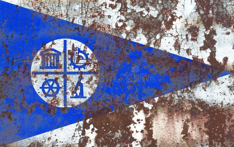 Bandiera del fumo della città di Minneapolis, stato del Minnesota, Stati Uniti di A fotografia stock