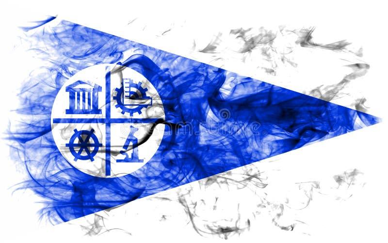 Bandiera del fumo della città di Minneapolis, stato del Minnesota, Stati Uniti di A immagini stock