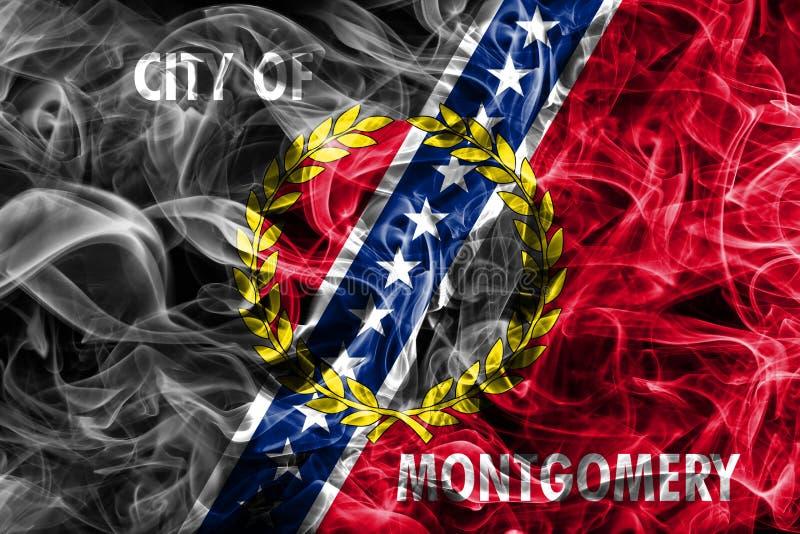 Bandiera del fumo della città di Montgomery, stato dell'Alabama, Stati Uniti di Amer fotografia stock libera da diritti