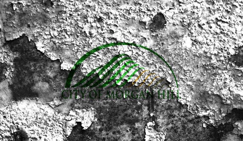 Bandiera del fumo della città di Morgan Hill, stato di California, Stati Uniti di fotografie stock