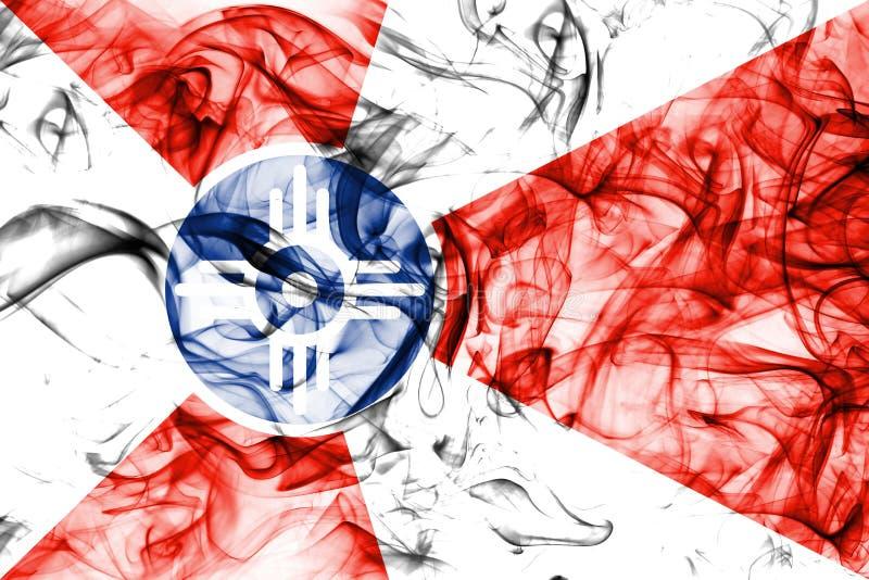 Bandiera del fumo della città di Wichita, stato di Kansas, Stati Uniti d'America fotografie stock libere da diritti