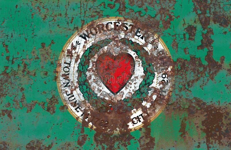 Bandiera del fumo della città di Worcester, stato di Massachusetts, Stati Uniti di fotografia stock libera da diritti
