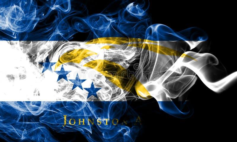 Bandiera del fumo di Johnston Atoll, bandiera dipendente del territorio degli Stati Uniti fotografia stock libera da diritti