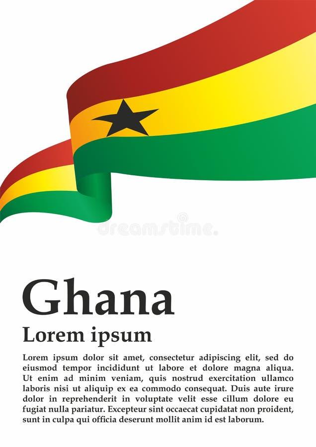 Bandiera del Ghana, Repubblica del Ghana Modello per progettazione del premio, un documento ufficiale con la bandiera del Ghana illustrazione vettoriale