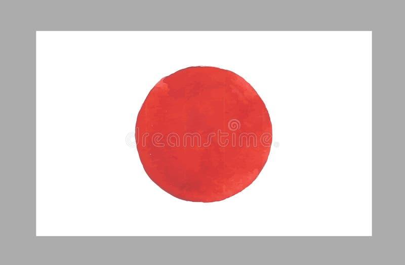 Bandiera del Giappone dell'acquerello Illustrazione di vettore illustrazione di stock
