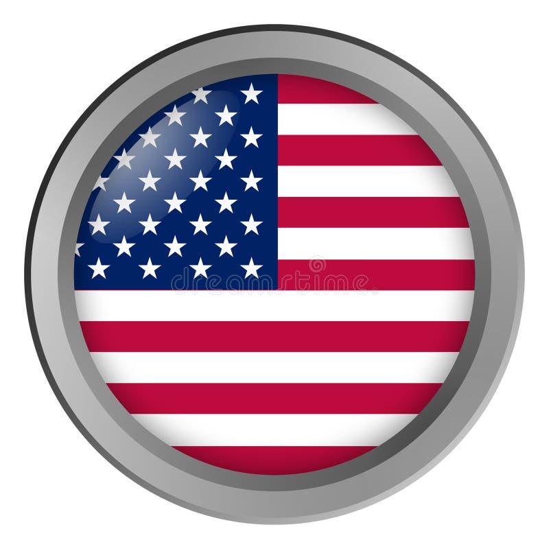 Bandiera del giro di U.S.A. come bottone illustrazione vettoriale