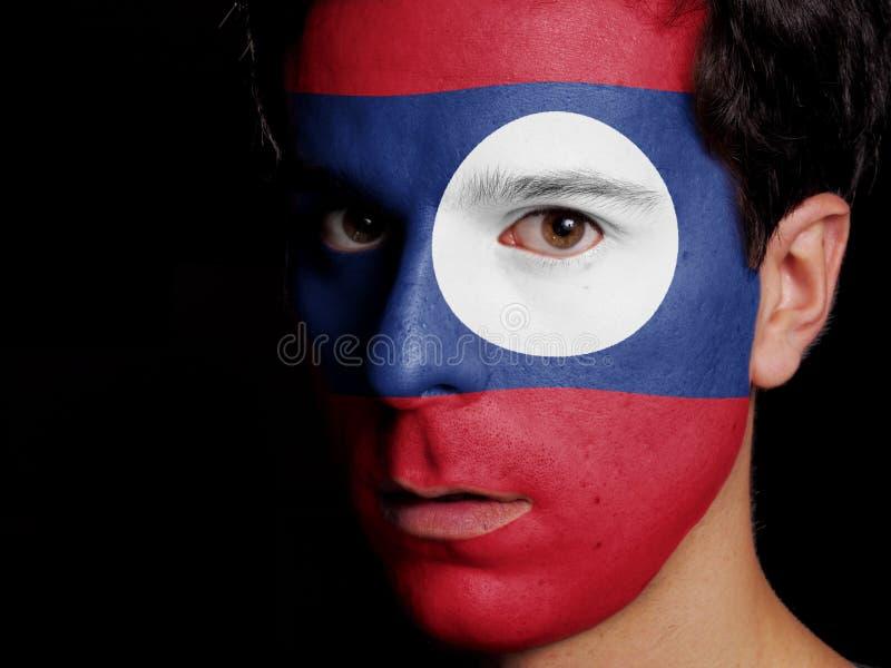 Bandiera del Laos fotografie stock libere da diritti