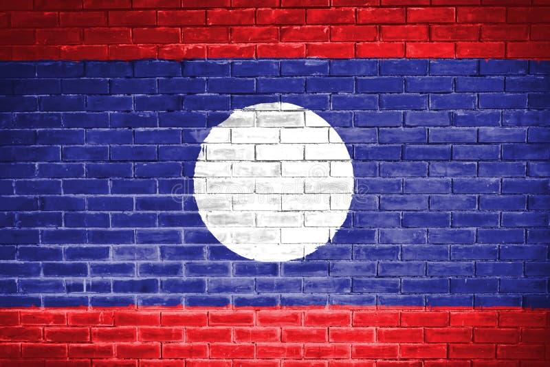 Bandiera del Laos, fondo di struttura della parete illustrazione di stock