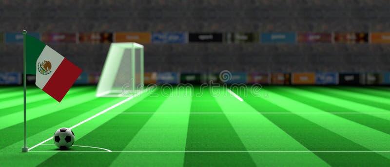 Bandiera del Messico su un campo di calcio illustrazione 3D illustrazione vettoriale