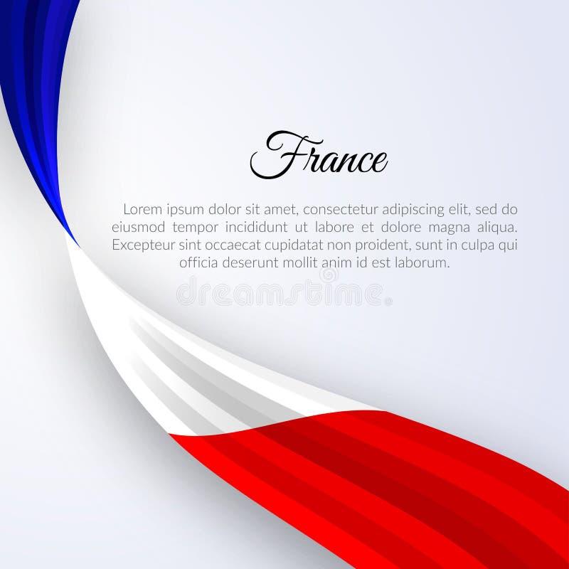 Bandiera del nastro della Francia su una disposizione leggera dell'insegna dell'opuscolo del fondo con le linee ondulate di nastr illustrazione di stock