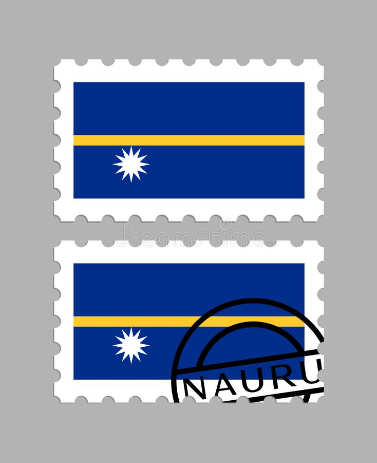 Bandiera del Nauru sul francobollo fotografie stock libere da diritti