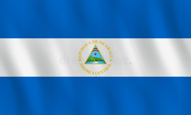 Bandiera del Nicaragua con effetto d'ondeggiamento, proporzione ufficiale illustrazione vettoriale