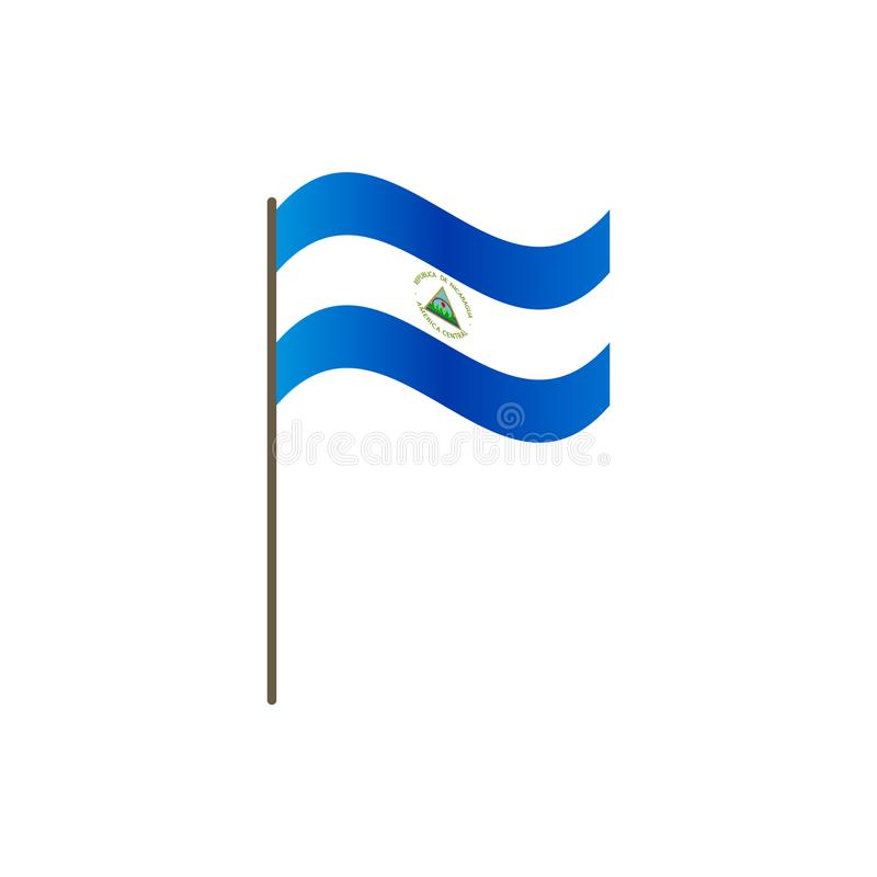Bandiera del Nicaragua sull'asta della bandiera Colori e proporzione ufficiali correttamente Ondeggiamento della bandiera del Nic royalty illustrazione gratis