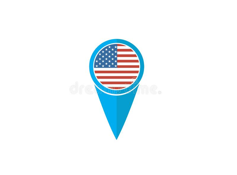 Bandiera del perno di U.S.A. per l'illustrazione di progettazione di logo illustrazione di stock