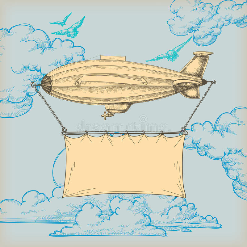 Bandiera del piccolo dirigibile royalty illustrazione gratis