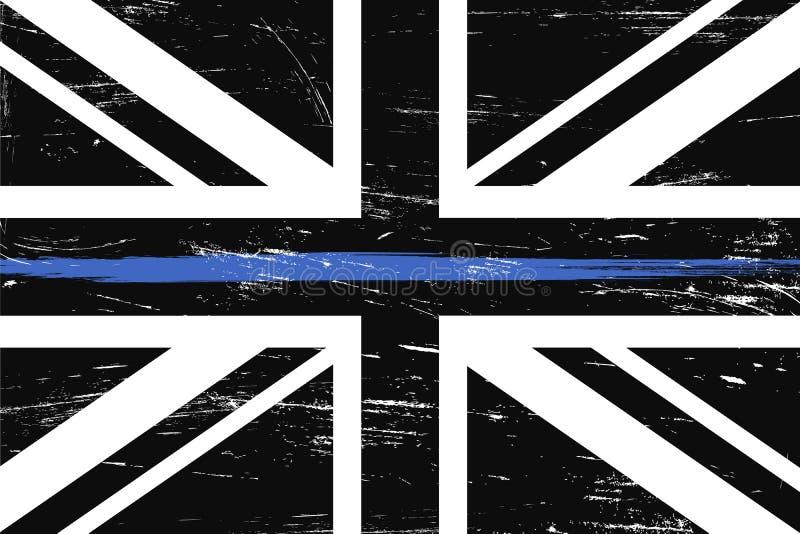 Bandiera a del Regno Unito di lerciume con la linea blu sottile royalty illustrazione gratis