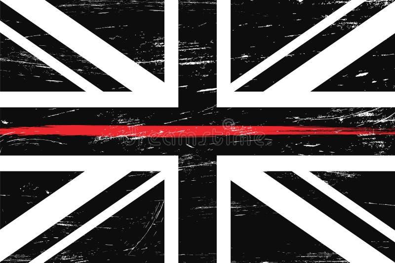 Bandiera del Regno Unito di lerciume con una linea rossa sottile illustrazione di stock