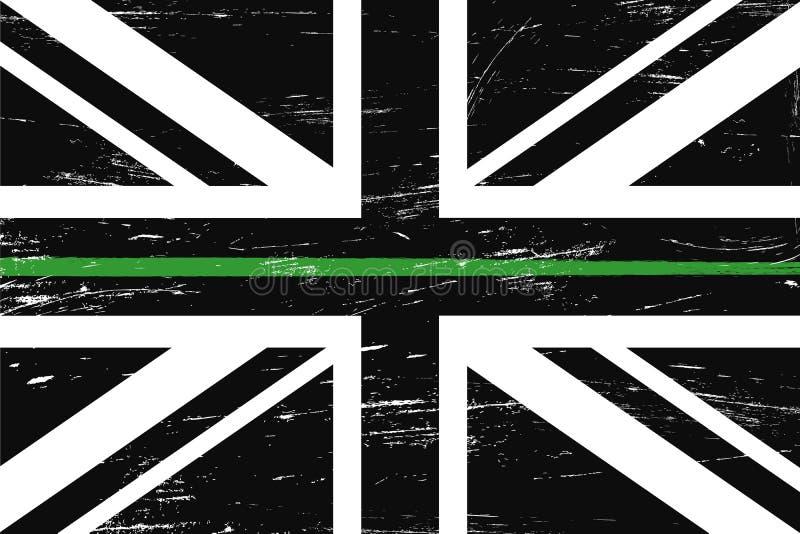 Bandiera del Regno Unito di lerciume con una linea verde sottile royalty illustrazione gratis