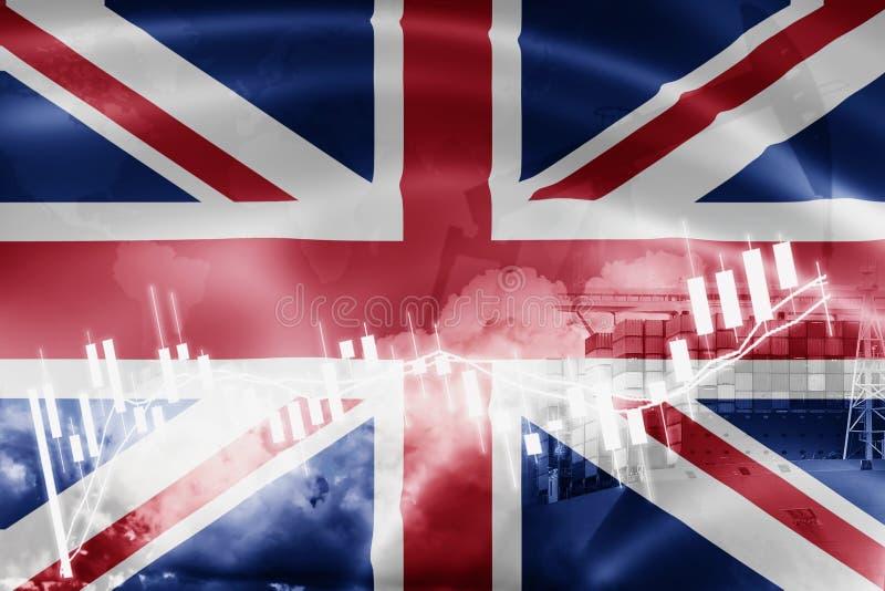 Bandiera del Regno Unito, mercato azionario, economia di scambio e commercio, produzione di petrolio, nave porta-container nell'a illustrazione vettoriale