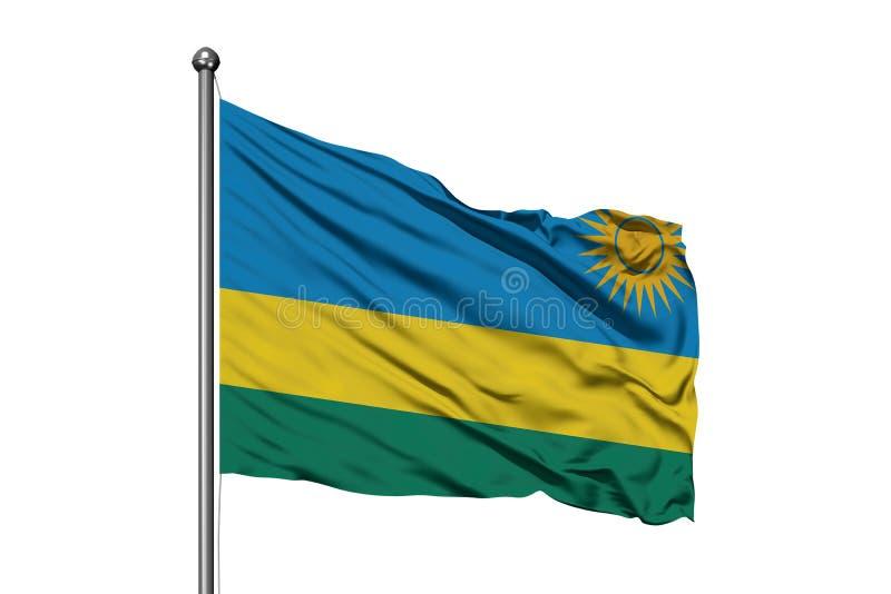 Bandiera del Ruanda che ondeggia nel vento, fondo bianco isolato Bandiera ruandese fotografia stock