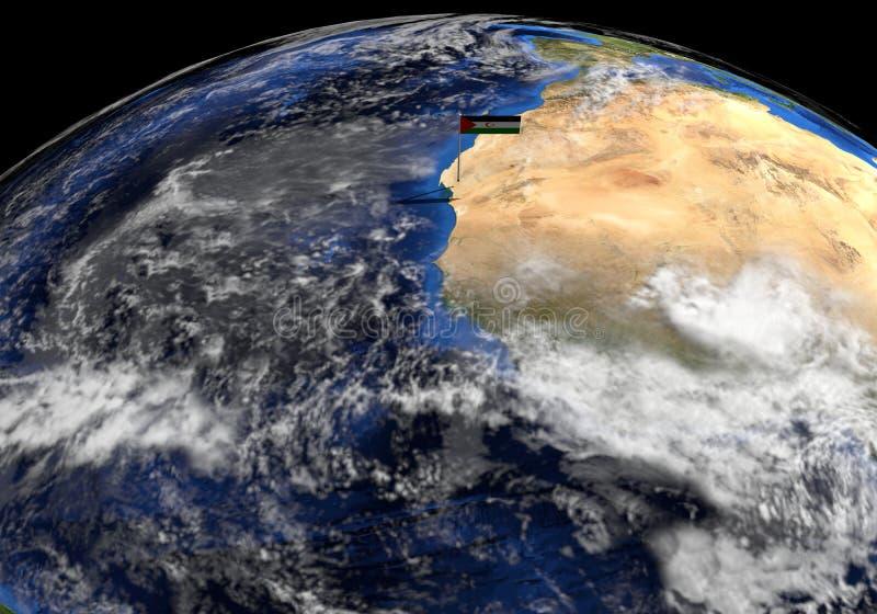 Bandiera del Sahara occidentale sul palo sull'illustrazione del globo della terra illustrazione vettoriale