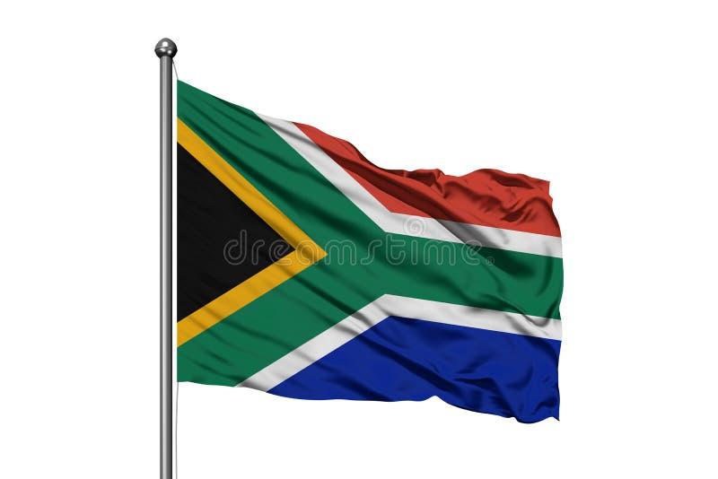 Bandiera del Sudafrica che ondeggia nel vento, fondo bianco isolato Bandierina sudafricana immagine stock libera da diritti