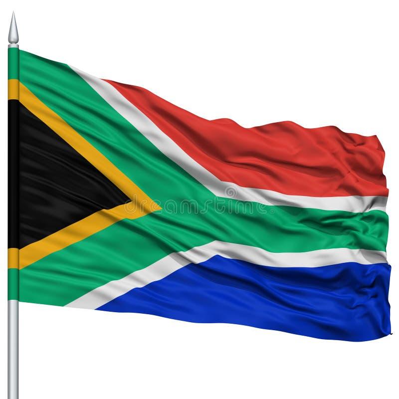 Bandiera del Sudafrica sull'asta della bandiera immagine stock libera da diritti