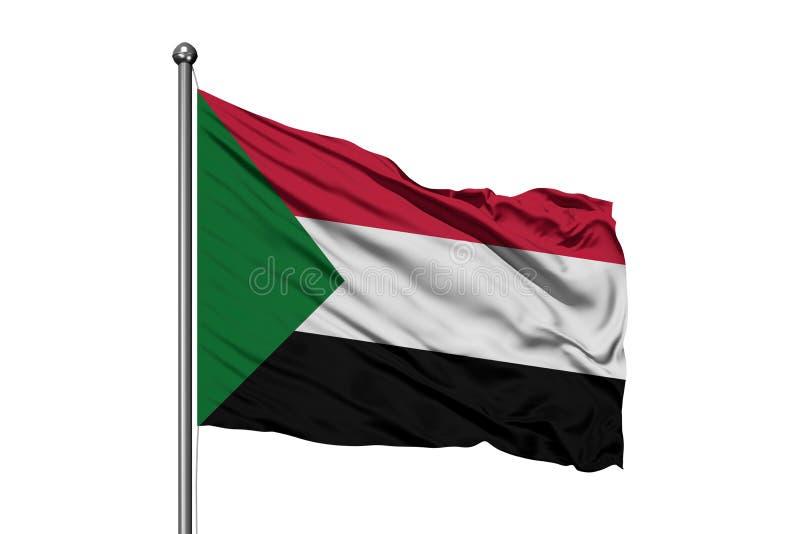 Bandiera del Sudan che ondeggia nel vento, fondo bianco isolato Bandiera sudanese fotografia stock