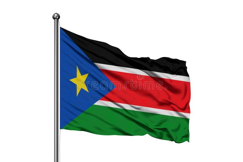 Bandiera del Sudan del sud che ondeggia nel vento, fondo bianco isolato fotografia stock