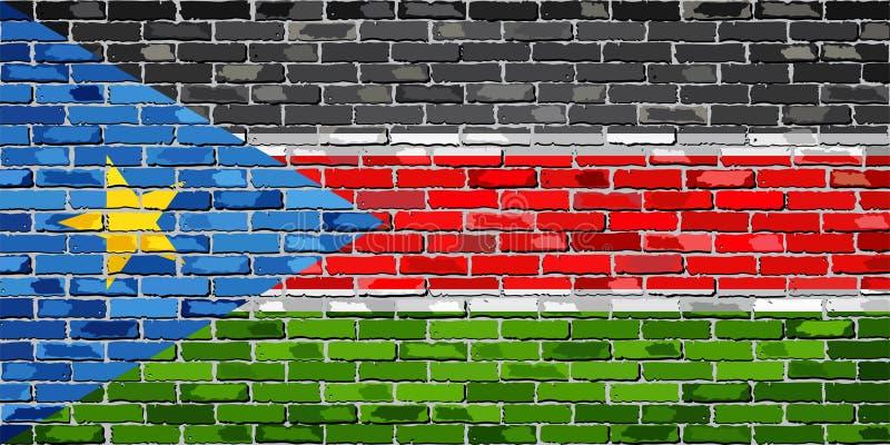 Bandiera del Sudan del sud su un muro di mattoni illustrazione di stock