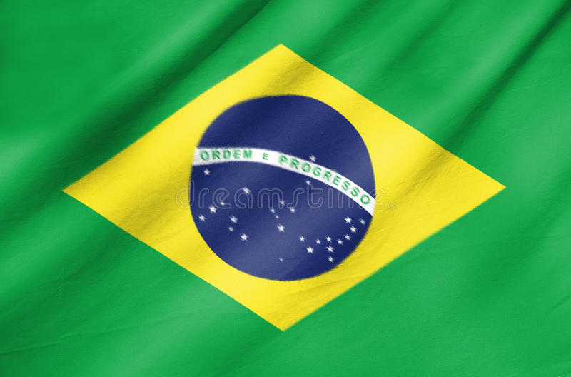 Bandiera del tessuto del Brasile fotografia stock libera da diritti