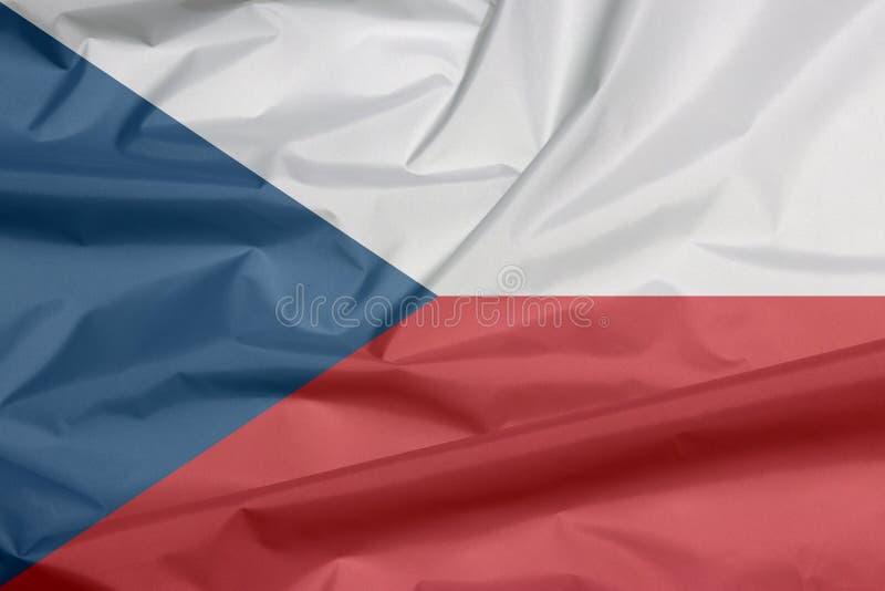Bandiera del tessuto della repubblica Ceca Piega del fondo ceco della bandiera fotografie stock
